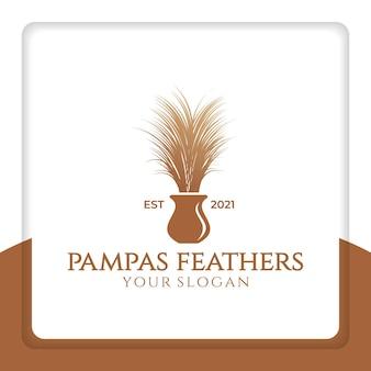 Vettore di design del logo di piume di pampa per la decorazione di interni e matrimoni