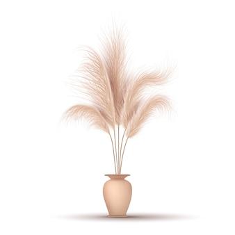 Erba della pampa in vaso Vettore Premium