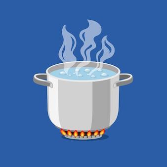 Padella in fiamme. pentola di cartone animato con acqua bollente, illustrazione vettoriale di oggetto da cucina per cucina su gas fiammeggiante isolato su sfondo blu