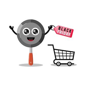 Pan shopping venerdì nero simpatico personaggio mascotte