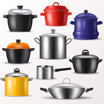Utensili da cucina o pentole di vettore della pentola per la cottura dell'insieme dell'illustrazione dell'utensile della cucina e dell'alimento di stoviglie e padella o vaso isolato