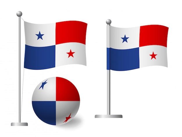 Bandiera di panama sull'icona palo e palla