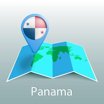 Mappa del mondo di bandiera di panama nel pin con il nome del paese su sfondo grigio