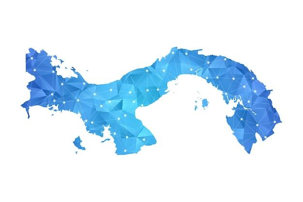 Panama mappa punti linea geometrica astratta poligonale.