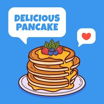 Illustrazione di scarabocchio del fumetto del pancake