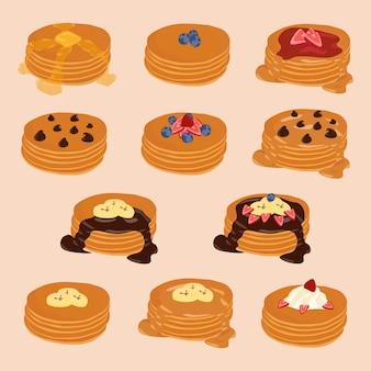 Clipart isolato vettore della pila del pancake, insieme dell'illustrazione di stile del fumetto, varie guarnizioni.