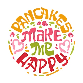 I pancakes mi rendono felice una frase scritta a tema con foglie, erbe, mirtilli design.