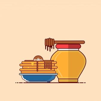 Frittelle con illustrazione di miele. concetto di clipart di fast food isolato. vettore di stile cartone animato piatto