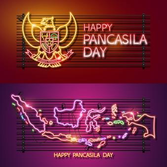 Pancasila day neon logo design