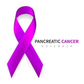 Mese della consapevolezza del cancro al pancreas. simbolo del nastro viola realistico.
