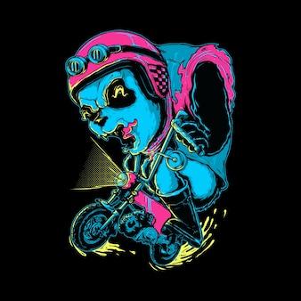 Illustrazione grafica del motociclista animale del panda