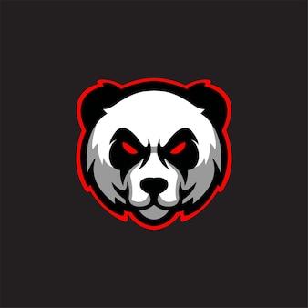 Illustrazione del modello di logo del fumetto della testa di animale del panda esport logo gaming premium vector