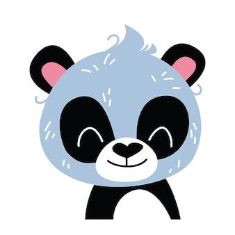 Panda baby emoticon icona e simbolo illustrazione vettoriale. stile infantile isolato su sfondo bianco. stampa per la cameretta dei bambini. cartone animato dello zoo degli animali del bambino