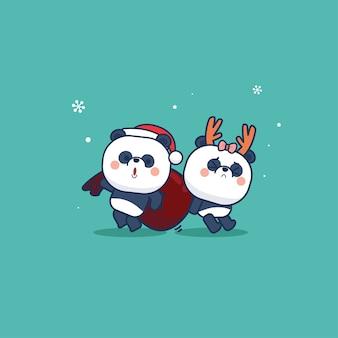 Panda bear simpatico cartone animato animale e edizione natalizia in stile piatto