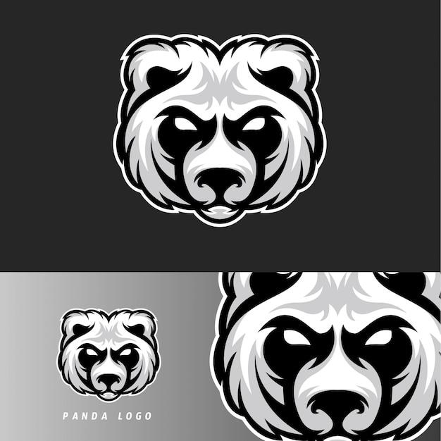 Emblema della mascotte di gioco di panda bear esport