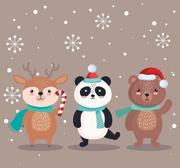 Cartoni animati di orso panda e renne in tema di design, inverno e decorazione di buon natale