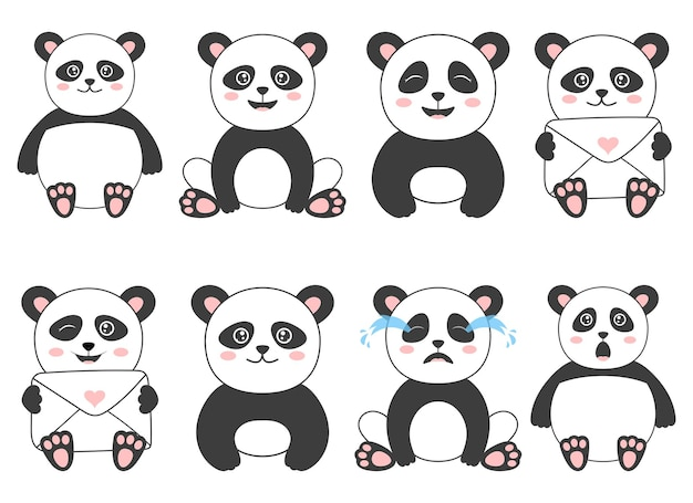Insieme dell'orso panda isolato