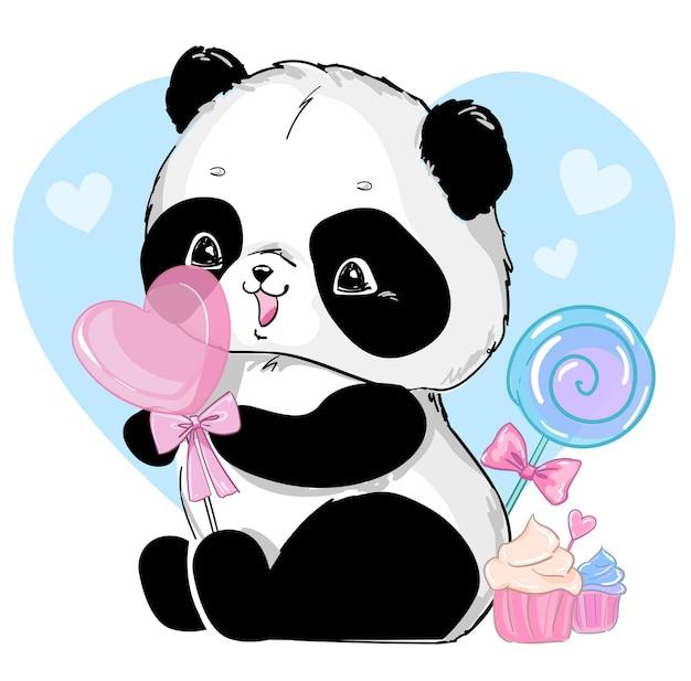 Orso panda con illustrazione di cuore di caramelle