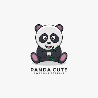 Panda cartoon carino logo