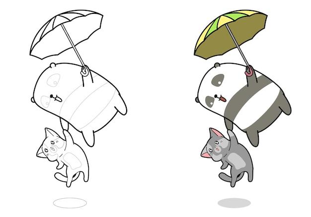 Panda e gatto stanno volando con la pagina da colorare dei cartoni animati di ombrello per i bambini