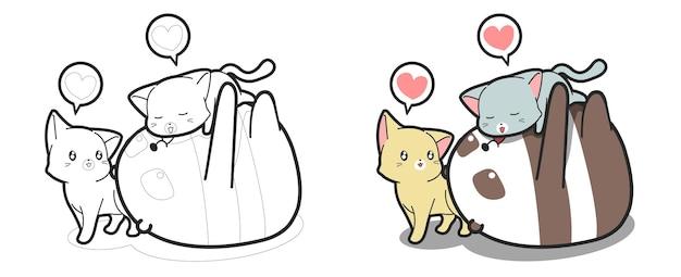 Panda e gatti adorano la pagina da colorare dei cartoni animati
