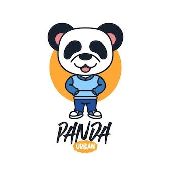 Panda simpatico cartone animato mascotte logo design
