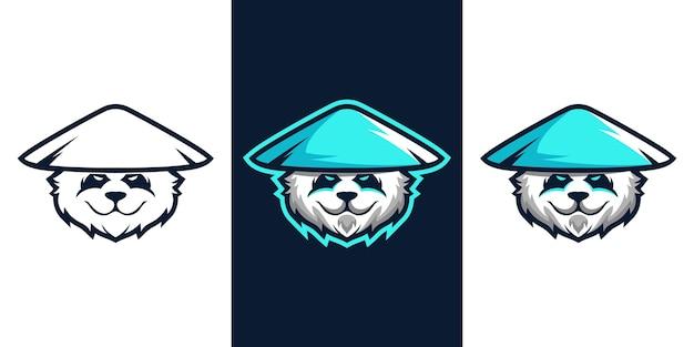 Panda e sport mascotte logo design