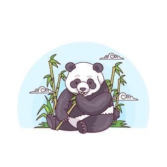 Panda mangiare bambù carino illustrazione