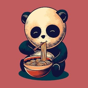Panda che mangia noodle