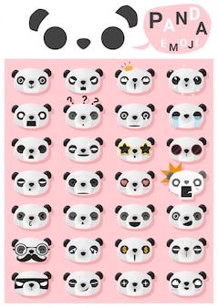 Emoticon panda emoji Vettore Premium