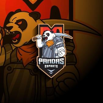 Logo della mascotte di panda esport