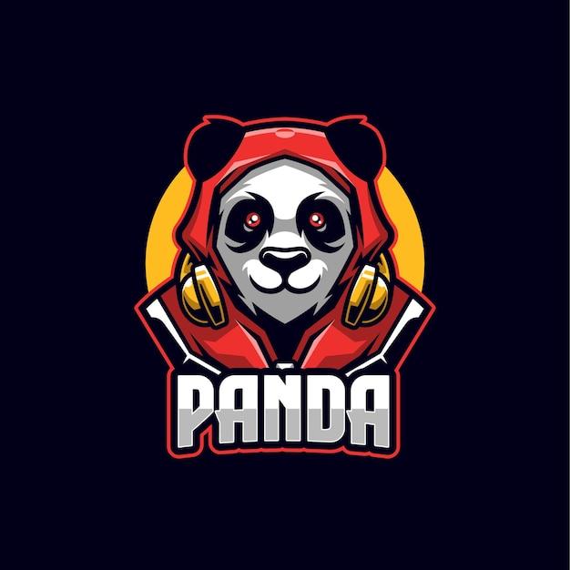 Modello mascotte logo panda esports