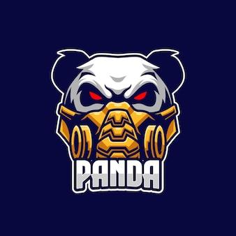 Modello di logo panda esports