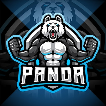 Logo mascotte esport combattente panda panda
