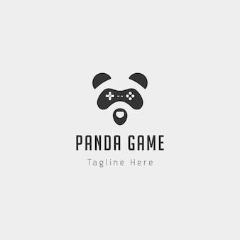 Panda gioco logo design modello animale concetto controller - vector