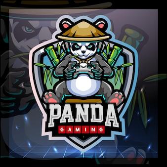 Panda gioco mascotte esport logo design