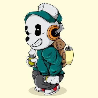 Personaggio di panda grafitti