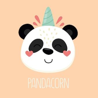 Panda felice e allegro panda unicorno con la parola pandacorn illustration