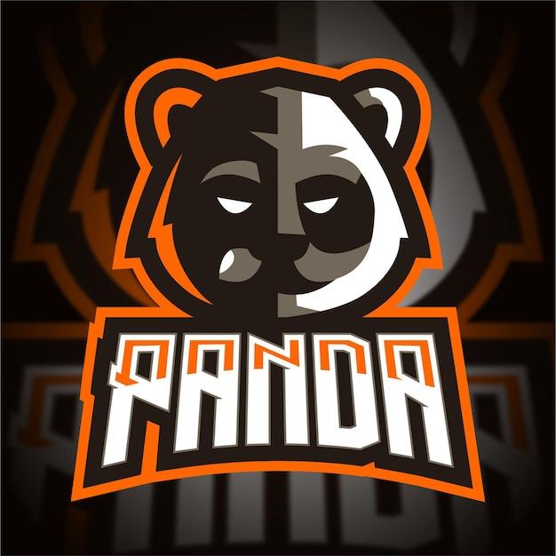 Logo di gioco di panda head esport