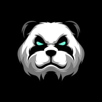 Modello sportivo della mascotte da gioco con logo panda head