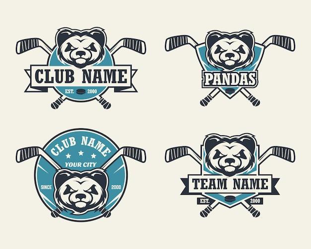 Logo sport testa di panda. set di loghi di hockey.