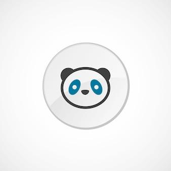 Icona del panda 2 colorata, grigia e blu, distintivo del cerchio