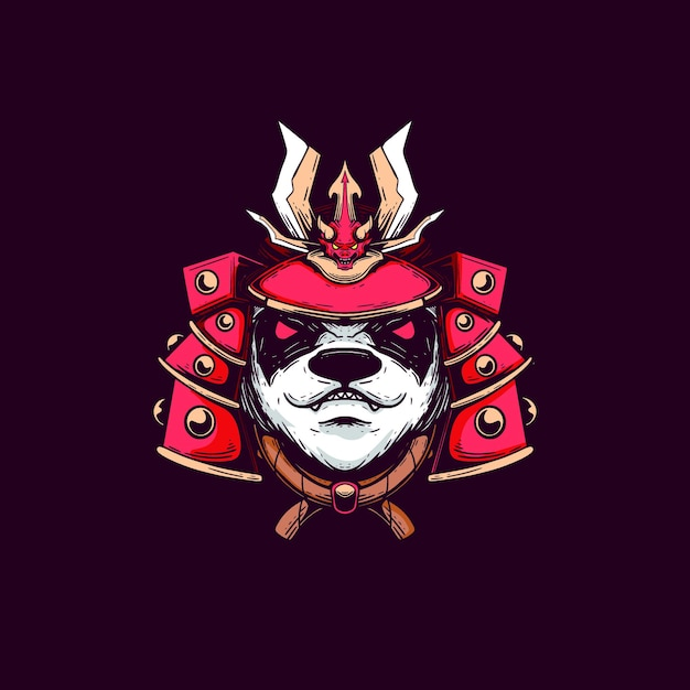 Maglietta design samurai illustrazione panda