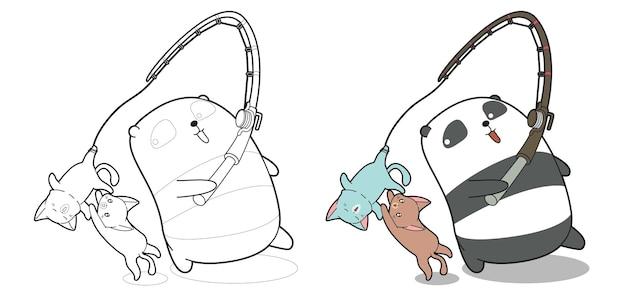 Il panda sta pescando la pagina da colorare dei cartoni animati del gatto