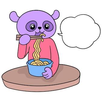 Panda è seduto a mangiare noodles, illustrazione vettoriale. scarabocchiare icona immagine kawaii.