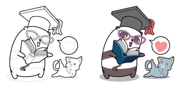 Panda sta insegnando una pagina da colorare di cartoni animati di gatto