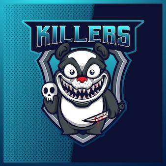 Panda killers creepy esport e design del logo della mascotte sportiva