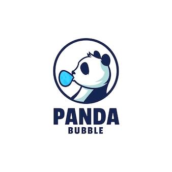 Modello di logo di panda mascotte stile cartone animato