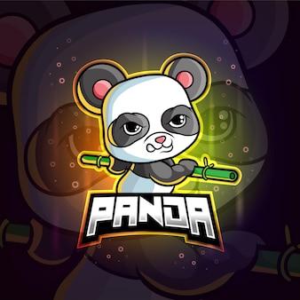 Mascotte panda esport logo colorato