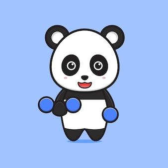 Panda panda sollevamento pesi icona del fumetto. design piatto isolato in stile cartone animato isolated